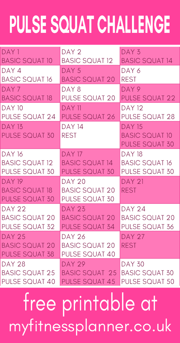 5 minute pulse squat challenge | Squats work all the major leg muscles so squatting every day is a great way to tone the legs and butt. This 30 day #challenge uses a combination of regular squats and squat pulses for maximum benefits. With free printable workout schedule | #squats #squatchallenge #squatworkout""
