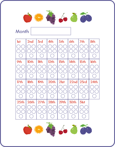 health habit tracker set 5 a day