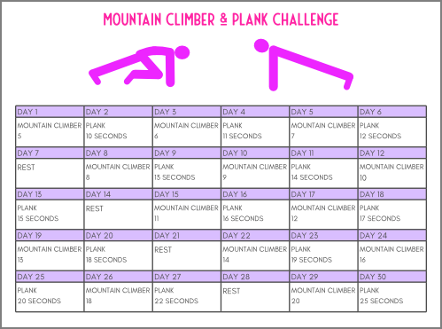 30 day core challenge exercise chart