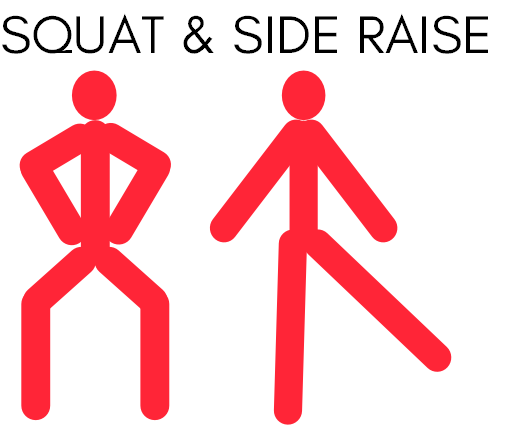 Leg workout - squat and side raise