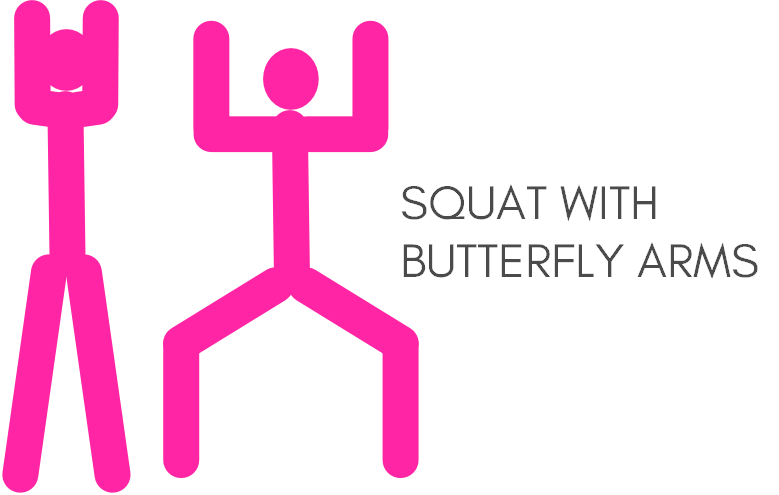 Squat with butterfly arms