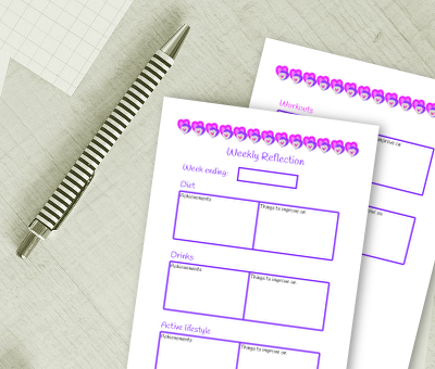 Health and fitness planner set reflection sheets to reflect on your weekly exercise & diet habits