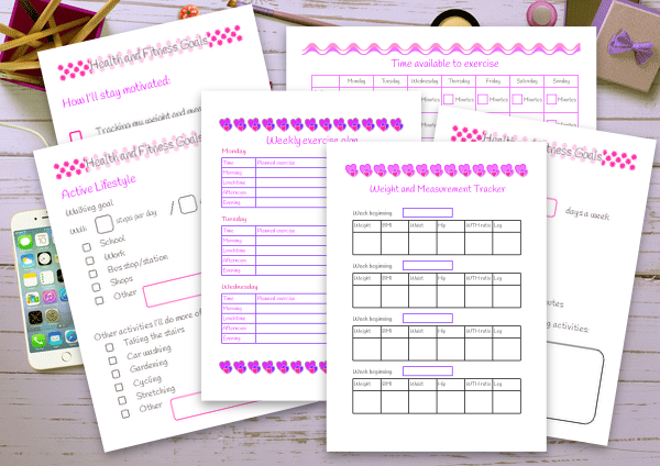 Complete health and fitness planner set