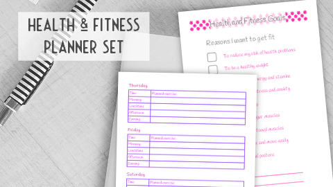 Health and fitness planner set to set goals, schedule and track
