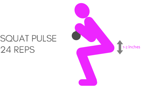 Squats with kettlebell pulse squat