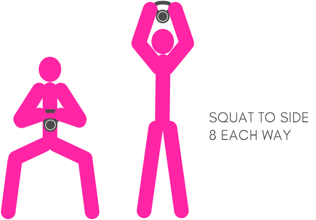 Squats with kettlebell side squat
