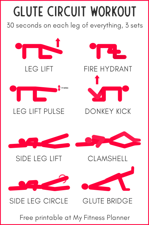 Glute circuit workout chart printable